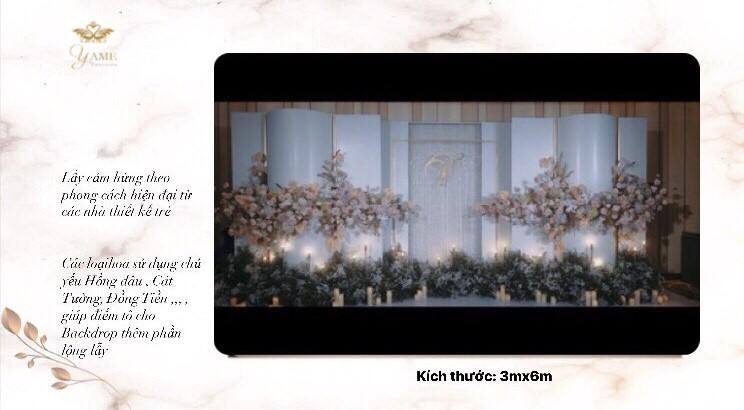 trang trí backdrop chụp hình cưới tại nhà hàng